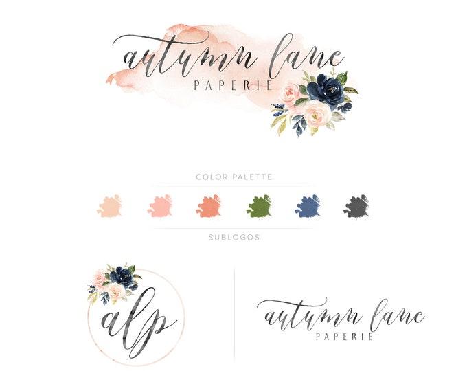 Premade Branding Kit - Branding Package - Logo Design - Premade Logo - Business Card Design - Watercolor Logo - Floral Logo - Watermark