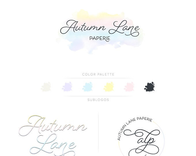 Premade Branding Kit - Branding Package - Logo Design - Premade Logo - Business Card Design - Watercolor Logo - Wordmark Logo - Watermark