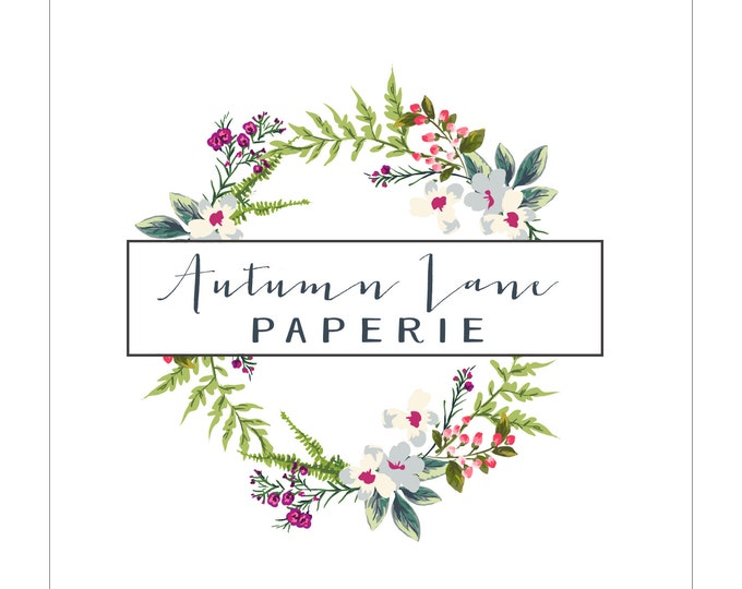 Premade Logo Design, Watermark Logo, Website Logo, Business Logo, Floral Logo, Watercolor Logo, Floral Branding, Tropical Wreath Logo