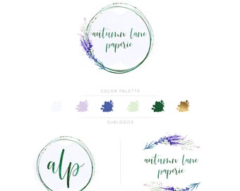 Premade Branding Kit - Branding Package - Logo Design - Premade Logo - Business Card Design - Watercolor Logo - Lavender Logo - Watermark