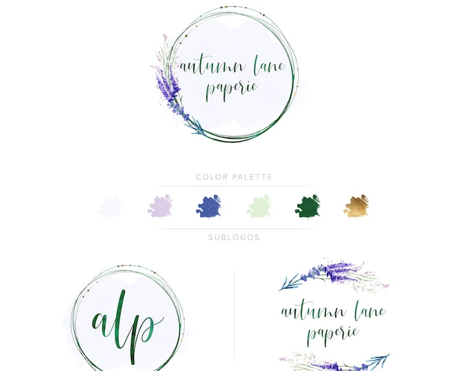 Premade Branding Kit - Branding Package - Logo Design - Premade Logo - Business Card Design - Watercolor Logo - Lavender Logo - Watermark