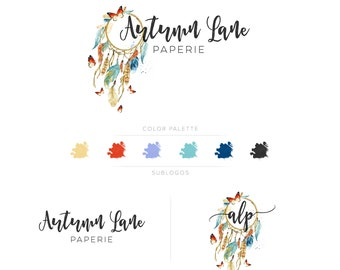 Premade Branding Kit - Branding Package - Logo Design - Premade Logo - Business Card Design - Watercolor Logo - Feather Logo - Watermark