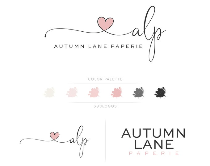 Premade Branding Kit - Branding Package - Logo Design - Premade Logo - Business Card Design - Watercolor Logo - Heart Logo - Watermark