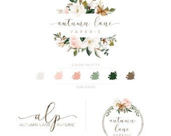 Premade Branding Kit - Branding Package - Logo Design - Premade Logo - Magnolia Logo - Watercolor Logo - Floral Logo - Watermark