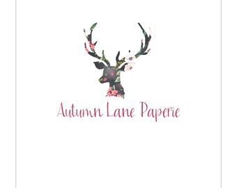 Premade Logo Design, Nature Logo, Watermark Logo, Modern Logo,  Antler Logo, Floral Logo, Rustic Logo, Shabby Chic Logo, Deer Logo
