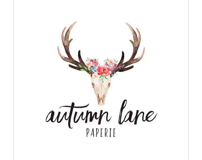 Premade Logo Design, Nature Logo, Watermark Logo, Modern Logo,  Antler Logo, Floral Logo, Deer Logo, Rustic Logo, Shabby Chic Logo