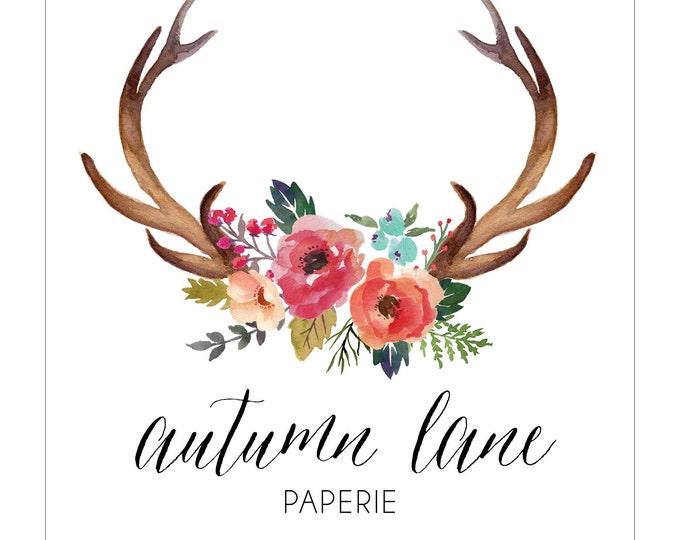 Premade Logo Design, Nature Logo, Watermark Logo, Modern Logo,  Antler Logo, Floral Logo, Flower Logo, Rustic Logo, Shabby Chic Logo
