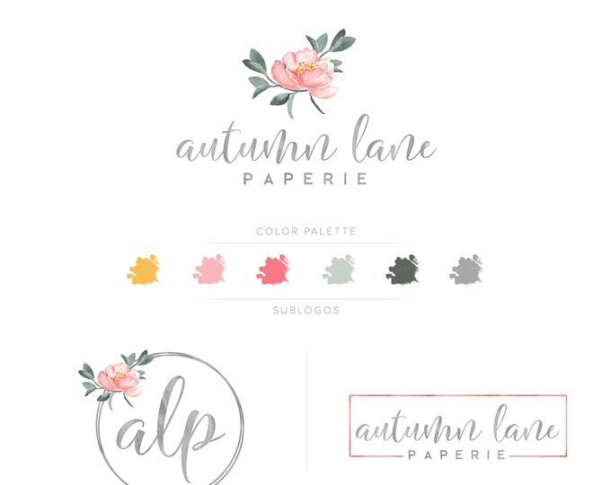 Premade Branding Kit - Branding Package - Logo Design - Premade Logo - Business Card Design - Watercolor Logo - Floral Logo - Watermark