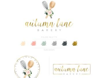 Premade Branding Kit - Branding Package - Logo Design - Premade Logo - Business Card Design - Watercolor Logo - Bakery Logo - Watermark