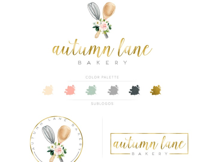 Premade Branding Kit - Branding Package - Logo Design - Premade Logo - Business Card Design - Watercolor Logo - Bakery Logo - Watermark