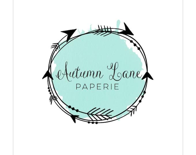 Premade Logo Design, Modern Logo, Watercolor Logo, Watermark Logo, Arrow Logo, Wreath Logo, Rustic Logo, Shabby Chic Logo, Tribal Logo