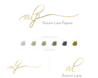 Premade Branding Kit - Branding Package - Logo Design - Premade Logo - Business Card Design - Gold Initials Logo - Text-Only Logo
