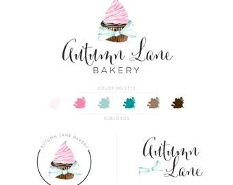 Premade Branding Kit - Branding Package - Logo Design - Premade Logo - Business Card Design - Cupcake Logo - Bakery Logo - Watermark