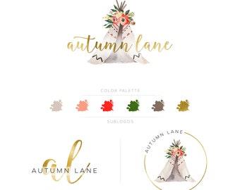 Premade Branding Kit - Branding Package - Logo Design - Premade Logo - Business Card Design - Tent Logo - Floral Logo - Watercolor