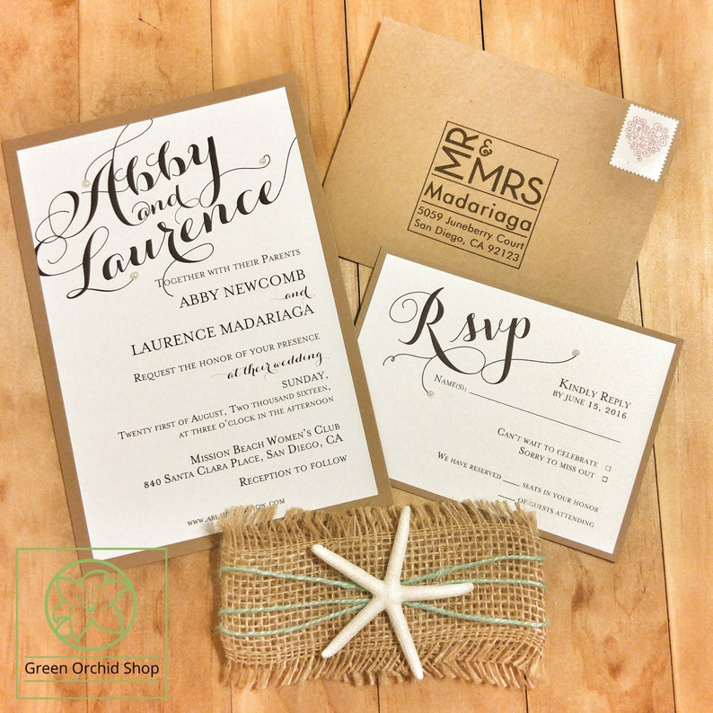 Beach Theme Wedding Invitation Destination Wedding Etsy
