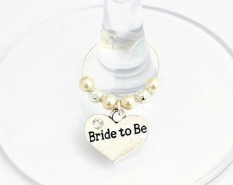 Bride to Be Wine Glass Charm, Swarovski Crystal, Bride to Be Gift, Wedding Hen Night Gift, Bridal Shower Gift, Hen Party Gift, Bride Gift