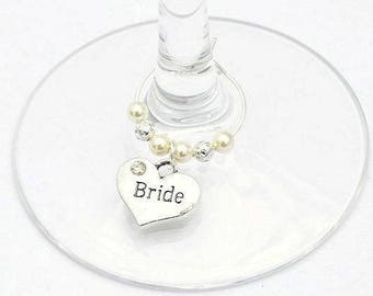 Bride Wine Glass Charm, Swarovski Crystal , Bride Gift, Wedding Wine Glass Charm, Bridal Shower Gift, Hen Party Gift, Top Table Decoration