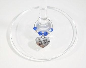 Retirement Wine Glass Charm - Swarovski Crystal - Happy Retirement Gift - Retirement Celebration - Retirement Party - Retirement Teacher