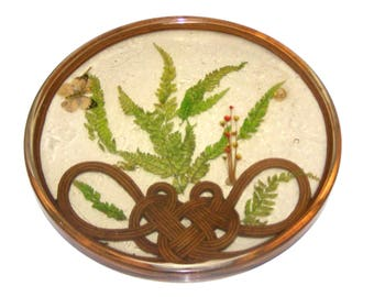 """Vintage Clear Acrylic Trivet, 12"""" Hot Plate, Dried Flowers, Butterfly, Wood, Fern Leaves - Design Gifts International"""