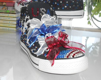 0a786d556721 Converse All Star Sneakers   High Top   SALE   Custom American Flag U.S.A.  Patriotic