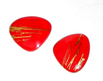 Lipstick Red Statement Earrings Ceramic Modern Abstract - Item Y75