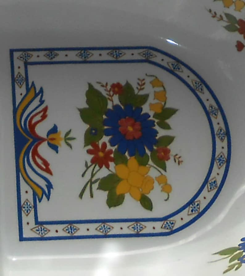 Ceramic Red Vintage Divided Serving Bowl Large White Oval with Folksy Floral Motif in Blue SALE Yellow