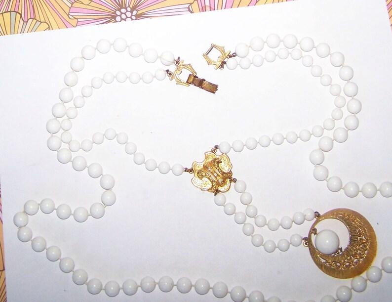 Florenza Designer Necklace  Byzantine Avant Garde  Statement Necklace  SALE  Eclectic Rare  Pendulum  Multi Strand  White Bead