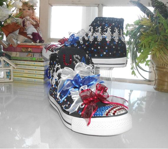 279f47af11cabf Rhinestone Sneakers   SALE   Custom American Flag Converse All