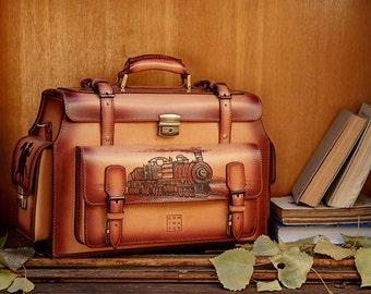 06fb1d7fdd7cf Vintage Travel Case dla mężczyzn, pyrogravée Far West, torba podróżna męska