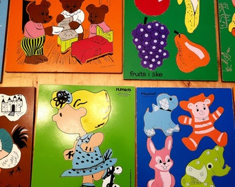 Vintage 1950s to 1960s Playskool Picture Puzzle Kids Children Animal Picnic Printed in USA Bunny RabbitFoxRaccoon 6 Large Pieces