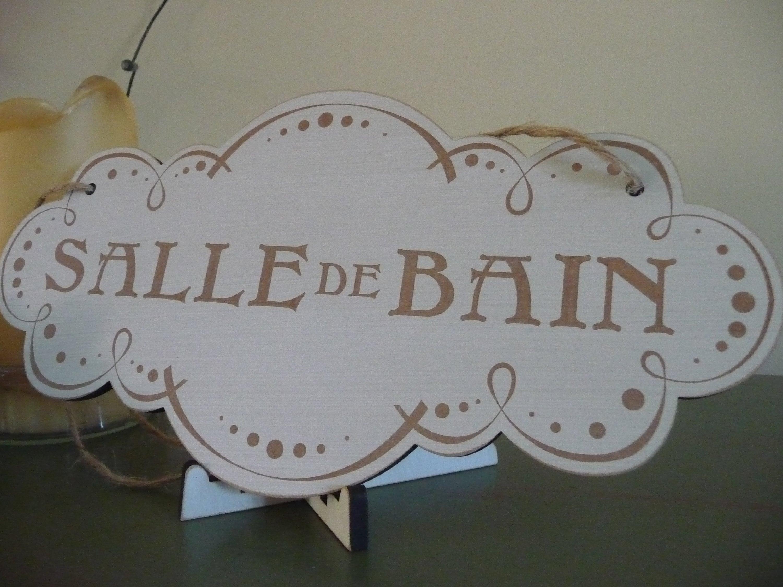 Bathroom Salle De Bain vintage bathroom sign, salle de bain sign, french bathroom door sign,  shabby chic wall decor, wooden sign