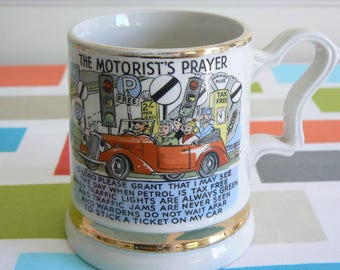 Fun Mug by Prince William - 'The Motorist's Prayer' - Finished in 22 Carat Gold.