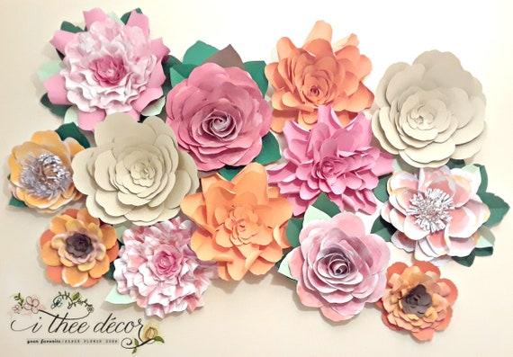 Watercolor paper flowers set of 13 flower wall decor etsy image 0 mightylinksfo