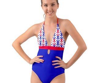 b3299d40d1004 Disney Cruise line swimsuit inspired by nautical hues of red and blue! Sail  away with Mickey in style!