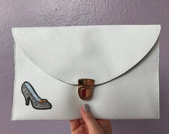 leather envelope clutch with patch / glass slipper