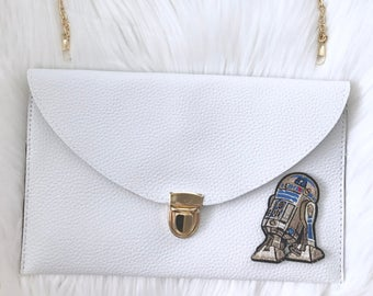 leather envelope clutch with patch / R2D2