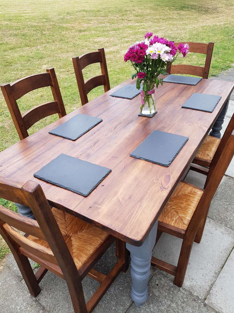 Large 6ft Farmhouse Vintage Dining Table 6 Chunky Wooden Chairs Rustic Industrial Slate Grey Shabby Chic