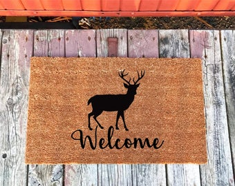 2 Sizes   Deer Welcome Mat   Cabin Welcome Mat   Coir Door Mat   Doormat    18 X 30 And 24 X 36   Housewarming Gift   House Warming