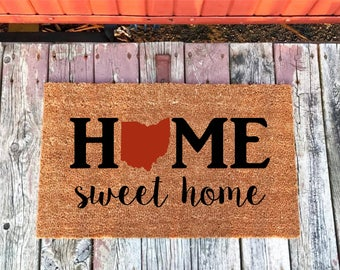 2 Sizes - Red Ohio Home Sweet Home State Coir Door Mat - Doormat - 18 x 30 and 24 x 36 - Welcome Mat - Housewarming Gift - House Warming