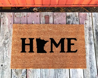 2 Sizes - Minnesota Home State - Coir Door Mat - Doormat - 18 x 30 & 24 x 36 - Welcome Mat - Housewarming Gift - House Warming