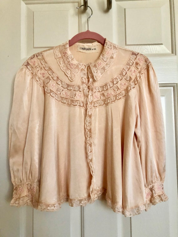 Vintage Silk Bed Jacket from I. Magnin
