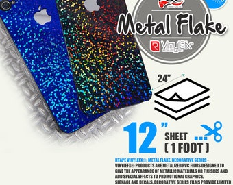"""12"""" x 24"""" Metal Flake Adhesive backed Sign Wall Craft Vinyl Choose from 5 colors"""