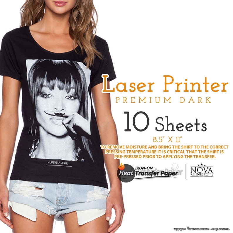 Laser Iron-On Heat Transfer Paper, For Dark fabric, 8 5