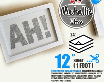 """12""""x 24"""" Ultra Metallic Adhesive backed Sign Wall Craft Vinyl Choose from 17 colors"""