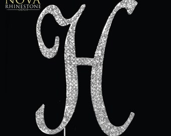 "Small Crystal Rhinestone Silver Letter ""H"" Monogram Wedding Anniversary Cake Topper"
