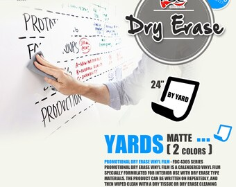 """24"""" x 1 Yd Dry Erase Adhesive backed Sign Wall Craft Vinyl Choose from 2 colors"""