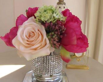 Wedding Centerpiece Beautiful Silk Flower Arrangement White Etsy