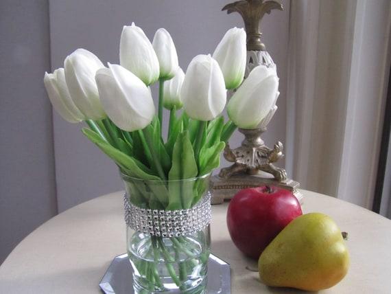 Real Touch White Tulip Arrangement Centerpiece White Tulip In Etsy
