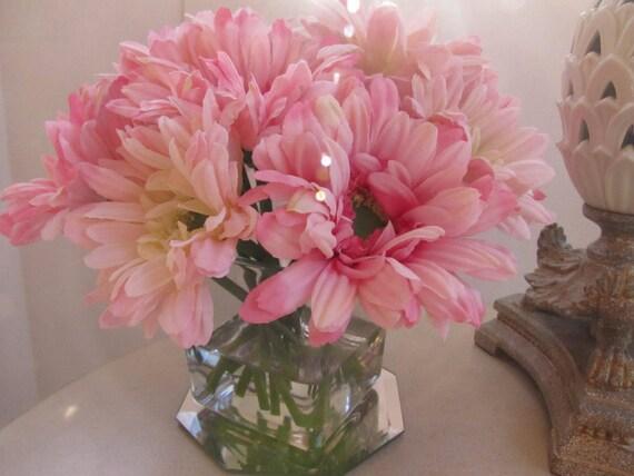 Silk Flower Arrangement Centerpiece Light Pink Gerbera Daisy Etsy