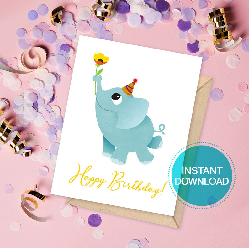 Printable Baby Elephant Birthday Card